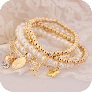 3/$20 New Gold & Pearl Beaded Bracelet Set